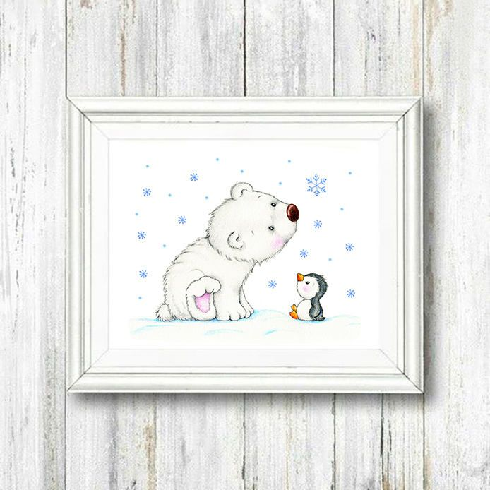 Polar Bear Nursery Art Print Animal Decor Children Kids Wall