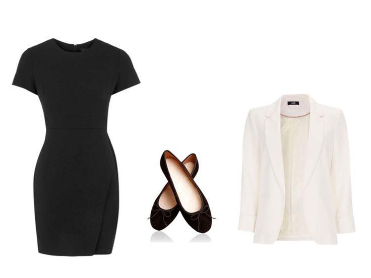 Fotos: Polyvore - Montagem: Estilo Catraca Livre /  Blaser e sapatilha para o trabalho https://estilo.catracalivre.com.br/moda/mais-com-menos-dez-maneiras-diferentes-de-usar-seu-vestido-pretinho-basico/
