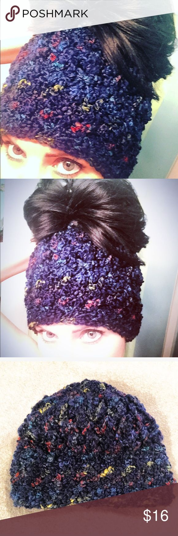Bun Beanie/Ponytail Bogan Crochet with Puff Stitch Handmade Crochet Bun Beanie/Ponytail Bogan -->Crochet with Puff Stitch-->trendy new style for winter wear! Adult women's size! Also available in different colors and sizes! Accessories Hats