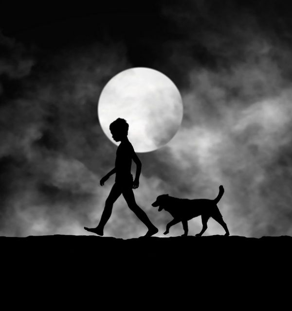 A black and white silhouette of boy and his dog photography by hengki lee
