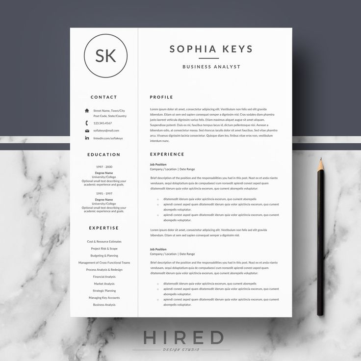 Professional & Modern Resume Template for Word: Sophia   - 100% Editable. - Instant Digital Download. - US Letter & A4 size format included. - Mac & PC Compatible using Ms Word.  ► PROMO CODES: --> Get 30% OFF on 2 templates with the code HIRED30 --> Get 35% OFF on 3 templates with the code HIRED35