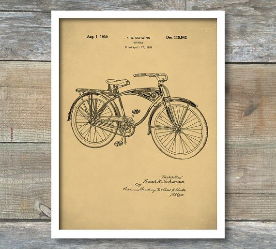 Schwinn Bike Poster Schwinn Bike Patent by NeueStudioArtPrints
