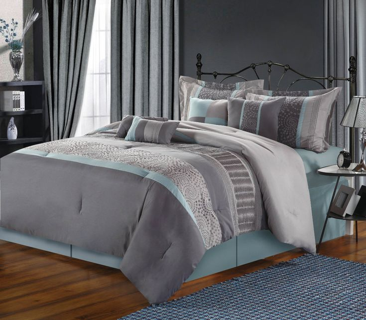 grey beige and aqua contemporary decorating   Chic Home 8-Piece Euphoria Embroidered Comforter Set, King, Blue/Grey