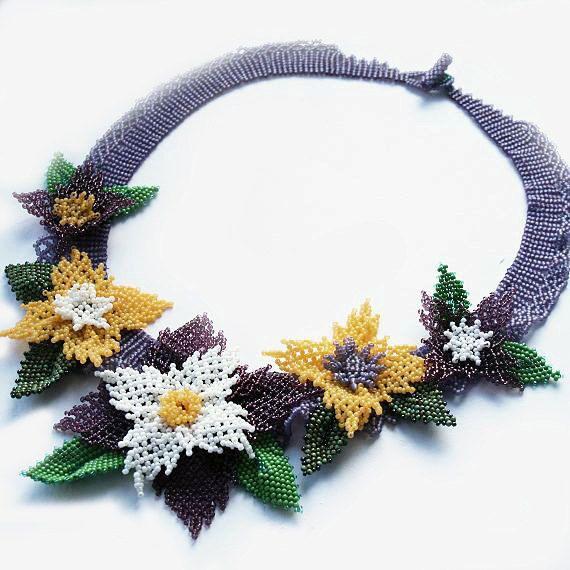 seed bead necklace seed bead collar beaded necklace, #seedbeadnecklace, #flowerscollar, #flowersnecklace