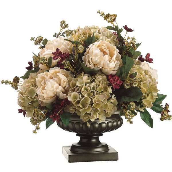 Silk Peony, Hydrangea, and Pompom Rose Floral Arrangement ($155) found on Polyvore