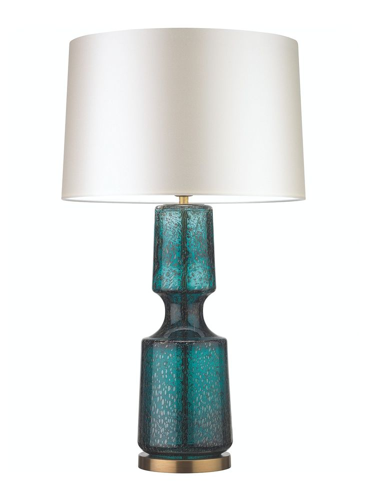ANTERO TEAL TABLE LAMP The Antero glass table lamp features a beautifully sculpted form with a concave mid-section and intricate bubble detailing.