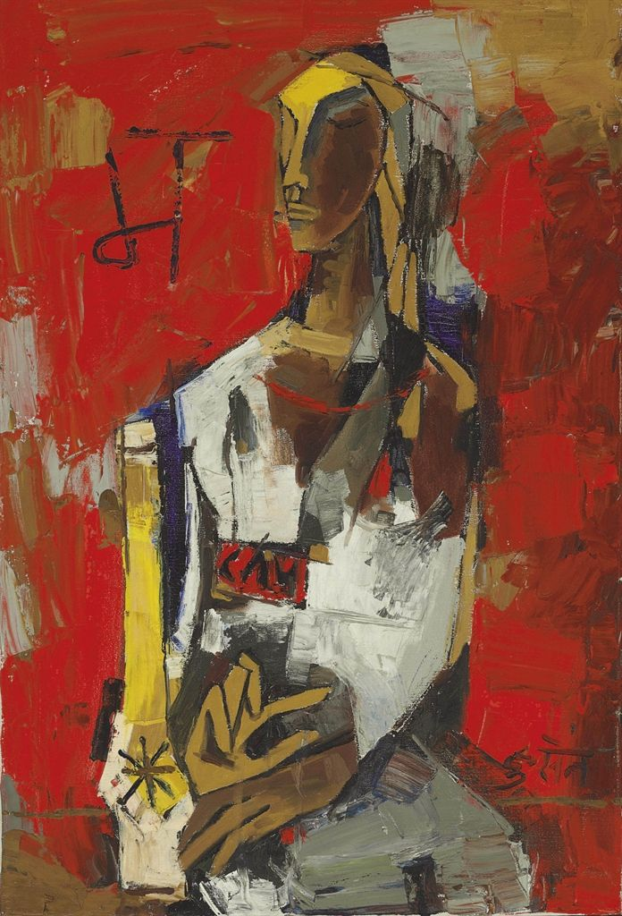 'Woman in Red' (1964) by M. F. Husain