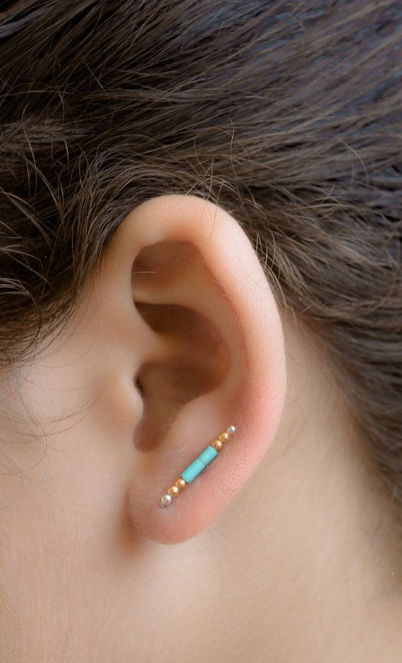 Hey, I found this really awesome Etsy listing at https://www.etsy.com/listing/194643143/turquoise-and-gold-ear-pins-glass-beads