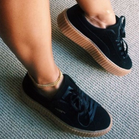 Black Puma Creepers Trendy fashion sneakers designed by Rihanna Puma Shoes Sneakers