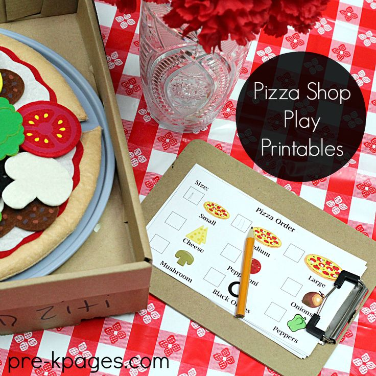 Play Pizza Shop Theme for Preschool and Kindergarten. Printable props to make learning fun and meaningful!