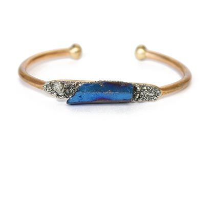 Crystal and Pyrite Cuff Cobalt | Accessory Foundry