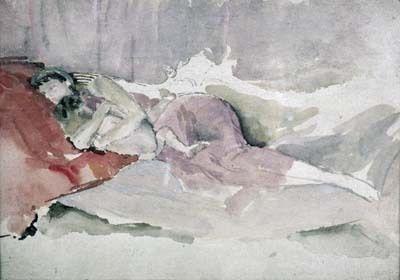긴 의자에 누운 엄마와 아이(Mother and Child on a Couch) - 제임스 애벗 휘슬러  1870년대. 빅토리아&앨버트 박물관.  휘슬러는 단순한 주제와 표현적인 분위기를 선택했다고 합니다. 프린트에 가장 뛰어난 재능을 보였으며 엷은 채색을 보면 믿기지 않겠지만 그가 완벽하게 만족스러운 단계에 이를 때까지 여러번의 수정작업을 했습니다. 엷은 채색에도 불구하고 아기를 꼭 끌어안고 자는 엄마의 모습에서 사랑을 느낄 수 있습니다.