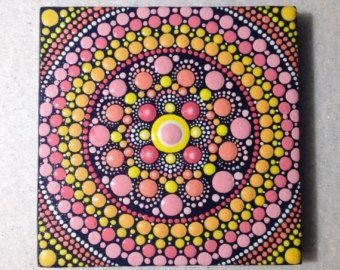 Items similar to Original Mandala Painting 15x15cm on Canvas, Painting, Office and home ornament Henna art Gift Dotilism Dotart, Blue mandala on Etsy