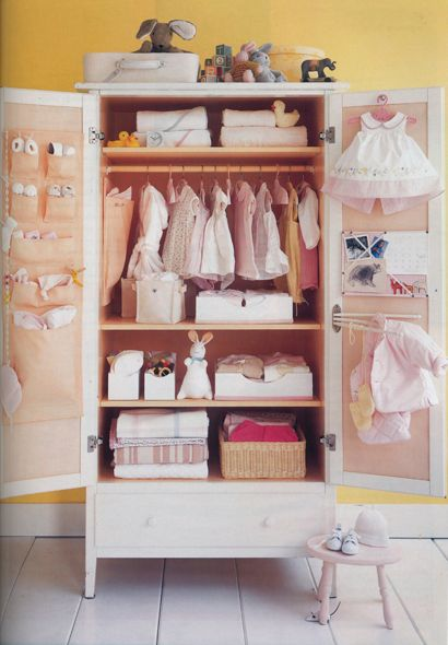 Use an armoire when your child is little, and then you can turn it into a hair/makeup station when she grows, or storage for your boys bb guns and swiss army knives when he grows ;)