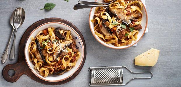 Mushroom and beef short rib ragu tagliatelle