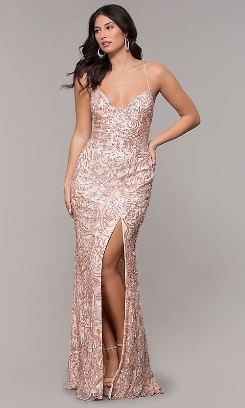 fc4d5da3601036 Long Sequin Open-Back V-Neck Prom Dress in 2019   Prom   Gold prom ...