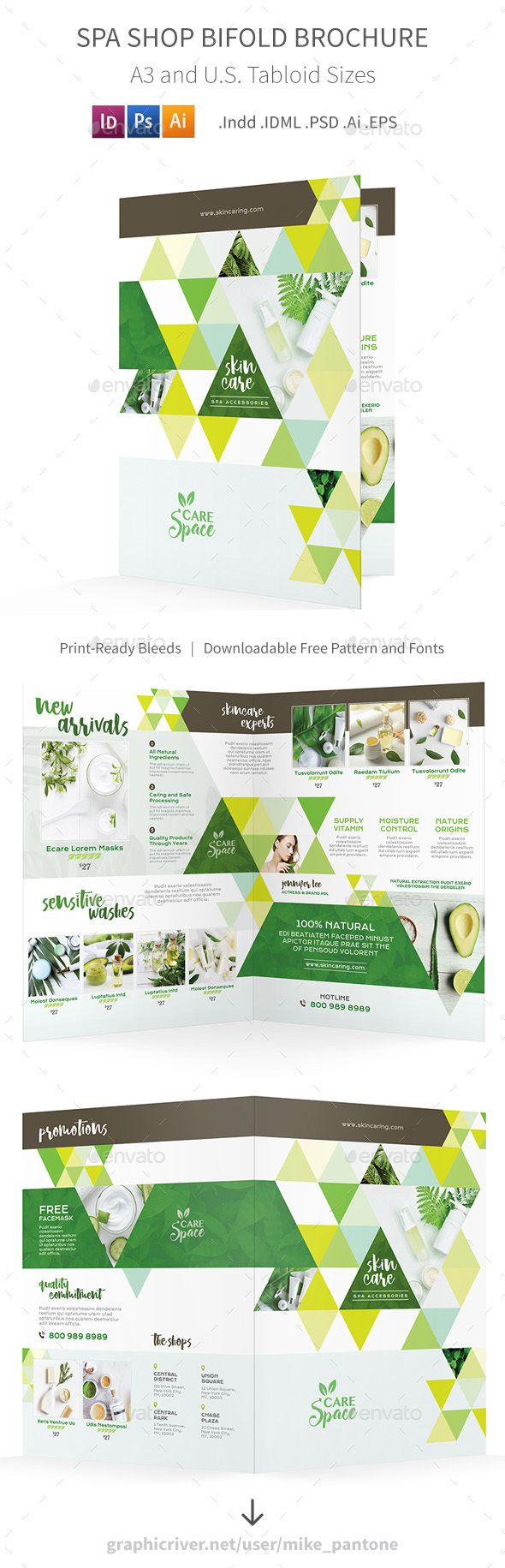 Spa Shop Bifold / Halffold Brochure Template PSD, Vector EPS, InDesign INDD, AI ...