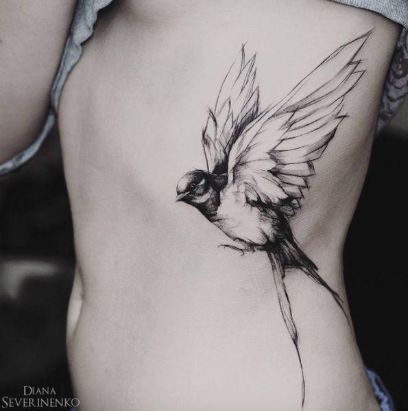 Black and Gray Songbird by Diana Severinenko