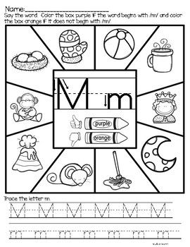 Alphabet Begining Sounds Worksheets. Great way for students to practice handwriting and beginning sound phonics skills. Perfect for pre-k or kindergarten.