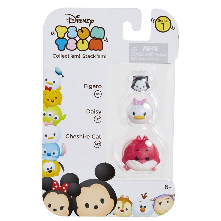 This is a Disney Tsum Tsum Series 1 Figaro, Daisy, and Cheshire Cat Figures 3 Pack. Tsum Tsum's are super fun to collect and each figure comes in a varying scale. Each pack comes with a small, medium