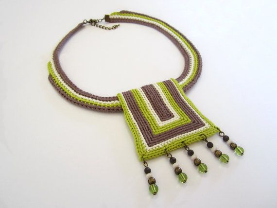 Crochet necklace,ethnic necklace,tribal necklace,african inspired necklace,bib necklace,statement necklace,nature inspired necklace,vegan  An