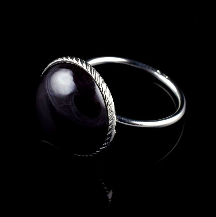BLACK ONYX NATURAL GEMSTONE MENS HANDMADE RING SIZE 8 US 925 STERLING SILVER R37 #Unbranded