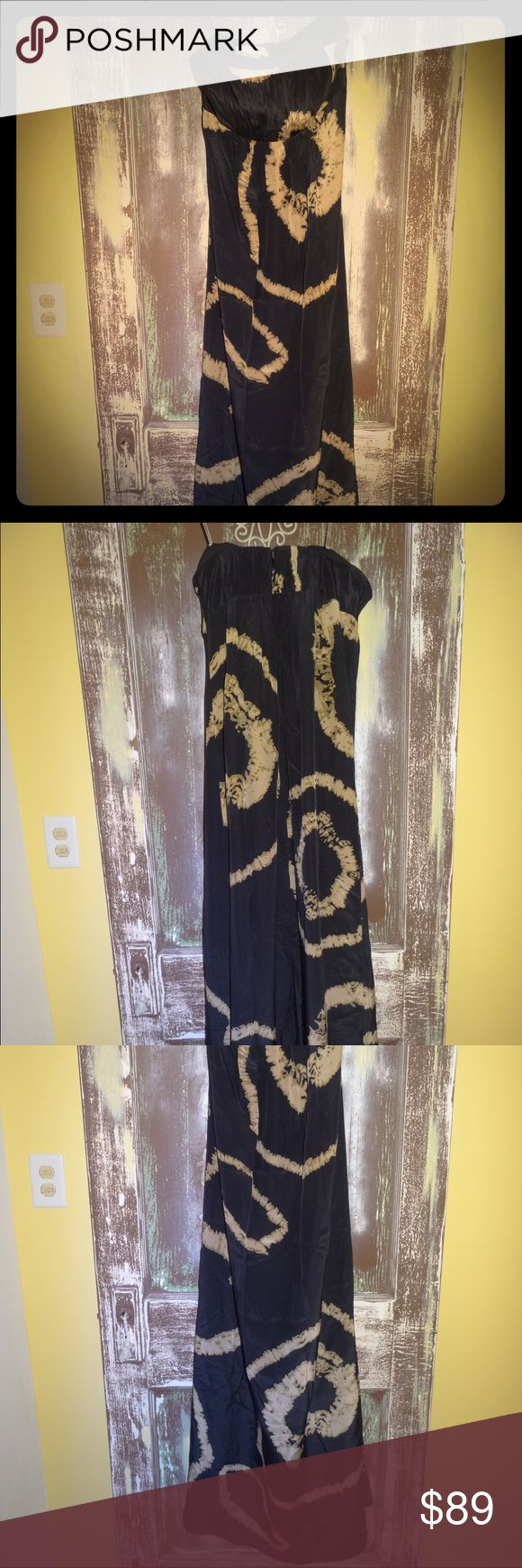 NWOT KAY UNGER BLACK SILK LONG STRAPLESS GOWN 2 NWOT KAY UNGER BLACK SILK RUFFLED LONG STRAPLESS MAXI GOWN EVENING FORMAL DRESS GEOMETRIC PRINT SIZE 2 Kay Unger Dresses Strapless
