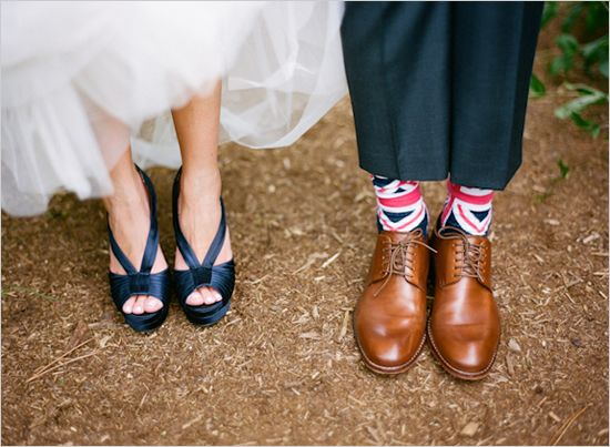 love the brown shoes with the navy suit and the socks! so fun!