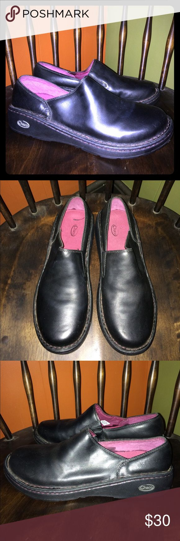 Chaco Zaagh Gunnison Clog Black Leather Women's 11 Chaco Zaagh Black Leather Gunnison Clogs. Women's Size 11. Great Condition, Lots Of Wear Left. Mild Scuffs From Use. Gently Pre Owned. Questions Welcome Thanks For Looking. Chaco Shoes Mules & Clogs