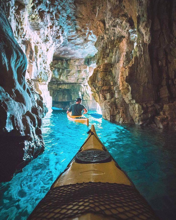 Navigating some Croatian sea caves in Pula Croatia