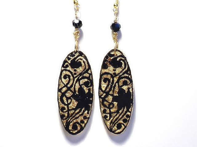#baroque, #pattern, #handmade, #earrings, #painted