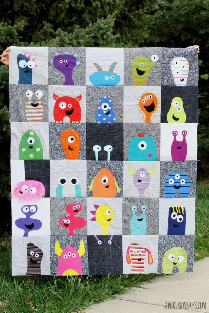 Monster face quilt top - pattern designed by Wendi Gratz of Shiny Happy World