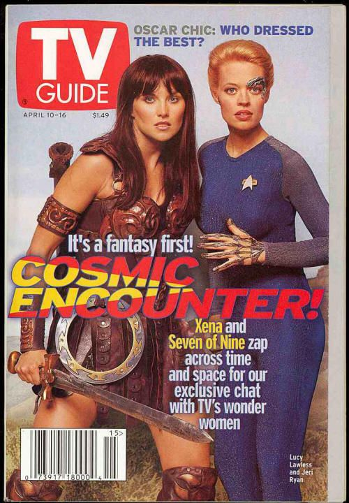 Voyager's Seven of Nine (Jeri Ryan) and Xena Warrior Princess (Lucy Lawless) cover