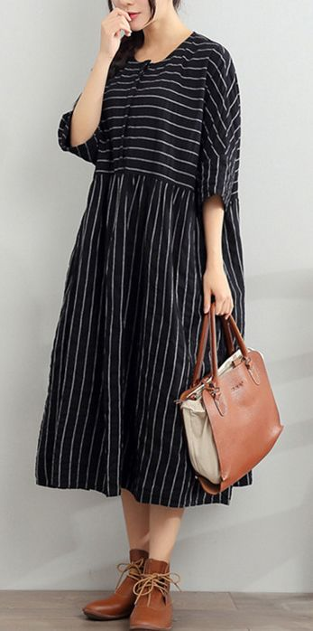 2017 blue summer striped dresses plus size cotton sundress half sleeve maxi dress