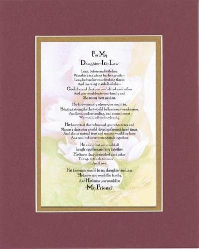 Touching And Heartfelt Poem For Daughters To My Daughter In Law Poem On 11 X 14 Double Beveled