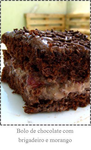 Bolo de Chocolate com Brigadeiro e Morango