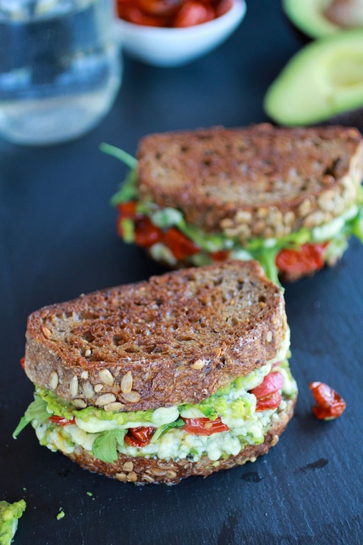 Blue Cheese + Smashed Avocado and Roasted Tomato Grilled Cheese - Half Baked Harvest