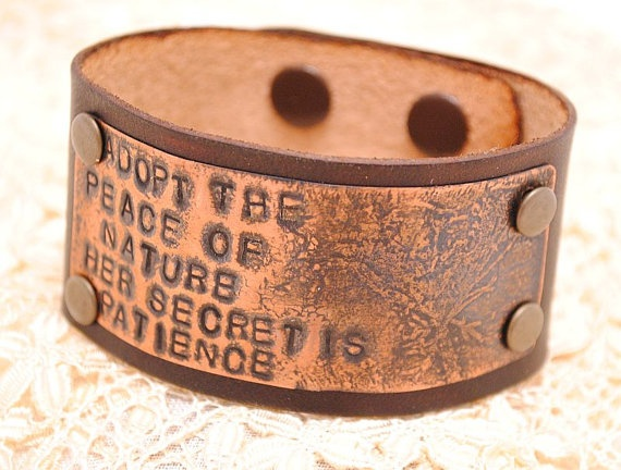 Copper and Leather Bracelet Etched Stamped Cuff Emerson Nature Quote by QueSarahSera: Natural Quotes, Bracelets Etchings, Nature Quotes, Leather Articles, Copper, Stamps Cuffs, Cuffs Emerson, Leather Bracelets