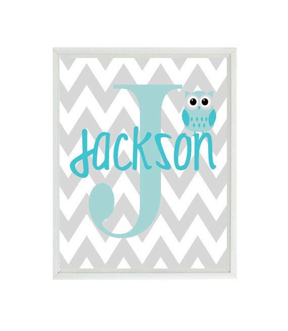 Owl Art Print  - Chevron Initial Name Letter Art Print - Owl Nursery Aqua Gray Personalized - Baby Boy Room - Wall Art Home Decor  Print