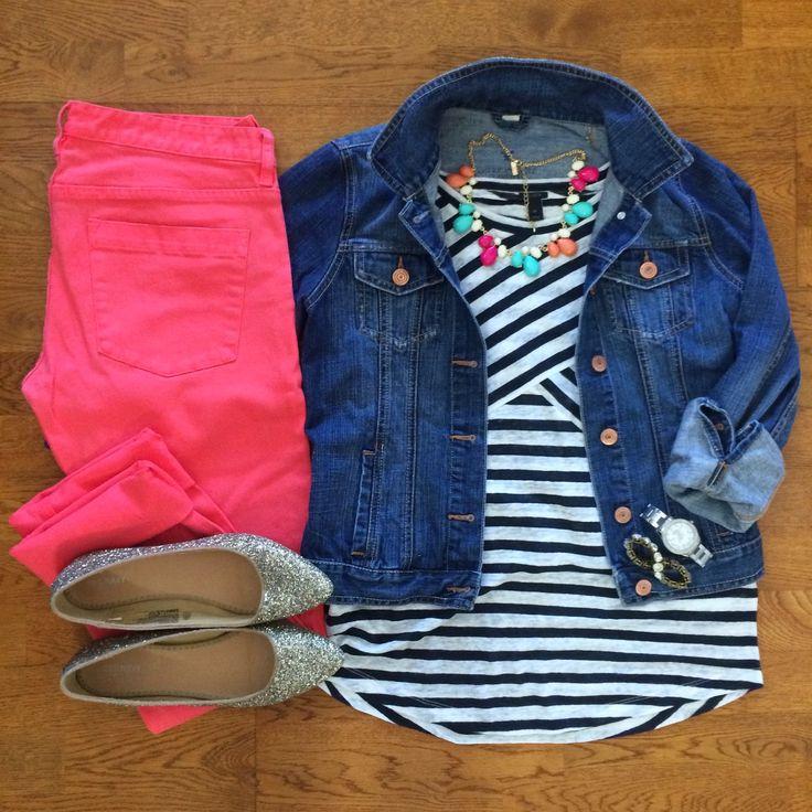 Coral shorts, striped top, denim jacket, gold flats or sandals