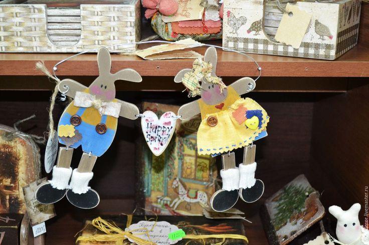 Купить кролики в стиле кантри - желтый, кантри, кантри стиль, кролики, зайцы, сердечко