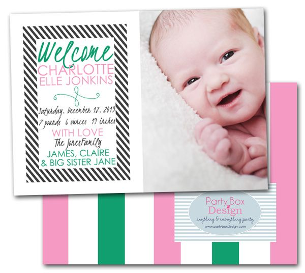 girl baby announcements, new baby, stripes, pink and green, birth announcements via Party Box Design