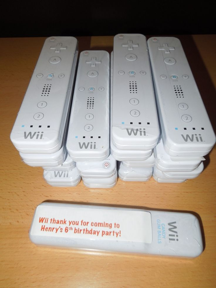 party favor ... Wii remote control tin filled with gumballs (from PlayDrMom)