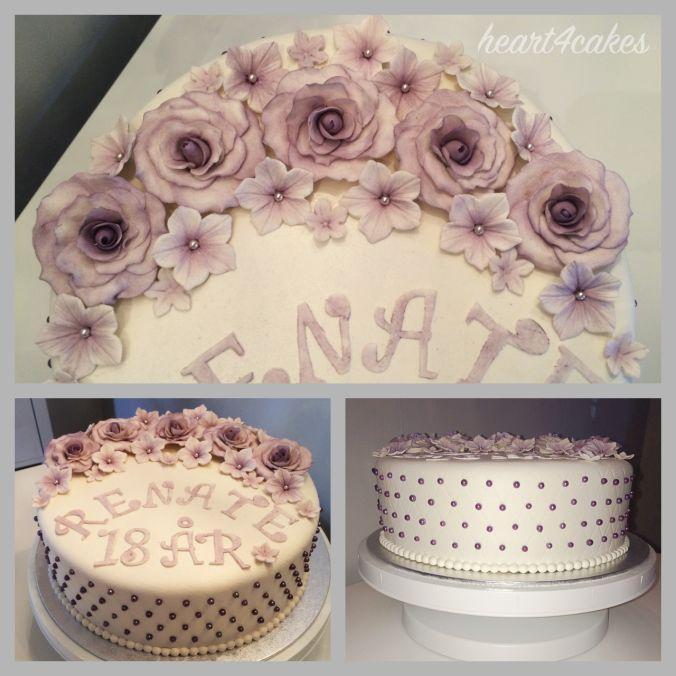 lilla roser marsipan 18 års dag kake