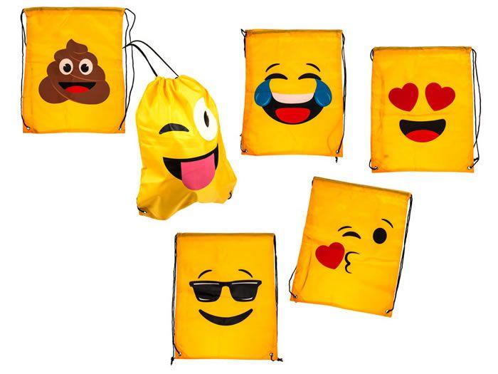 Rugtasje Emoticon. Een rugtasje met een drol, tranen van het lachen of vol liefde. Kies jouw favoriete emoticon om je spullen in mee te nemen. Ideaal als gymtas of zwemtas.