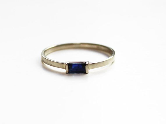 Blue Sapphire Baguette Stacking Ring 14K white gold by TinyArmour
