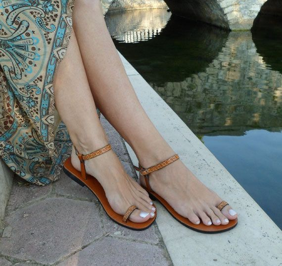 Lovely and Delicate Toe Ring Ankle Strap With Design Barefoot Sandals In Tan - Dream. $55.00, via Etsy.