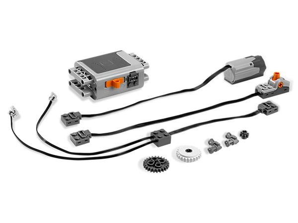 Power up your LEGO® Power Functions! 39.99 Starter kit Power Functions motor set includes a M-Motor, battery box, light cable, pole switch and additional pieces to add new functions and features to your motorized models.