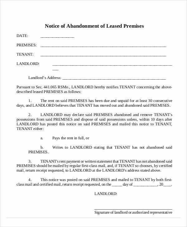 Abandoned Personal Property Letter Sample Beautiful Free 14 Abandonment Notice Templates In Pdf Lettering Letter Sample Being A Landlord