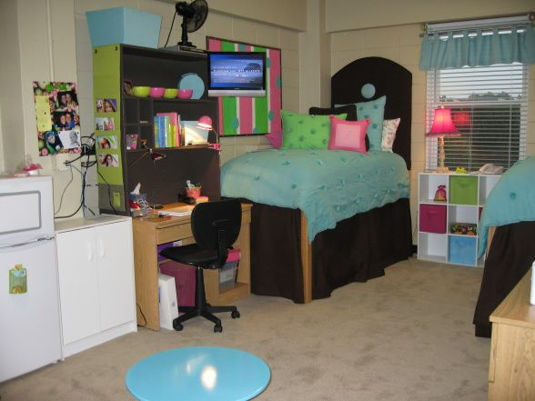girl dorms homemade headboards and block wall on pinterest On dorm room tv wall mount